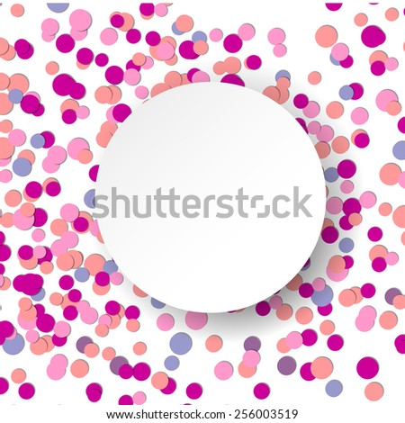 Vector illustration with pink confetti celebration background - stock vector