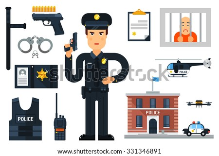 Vector illustration with policeman, police department, police helicopter, police car, prisoner,etc. Flat style. Elements for infographic. - stock vector