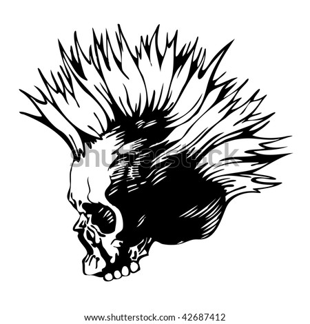 vector illustration with punk skull - stock vector