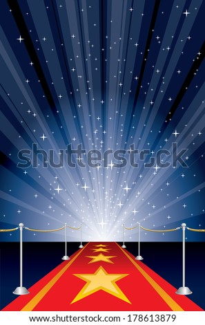 vector illustration with red carpet and star burst - stock vector