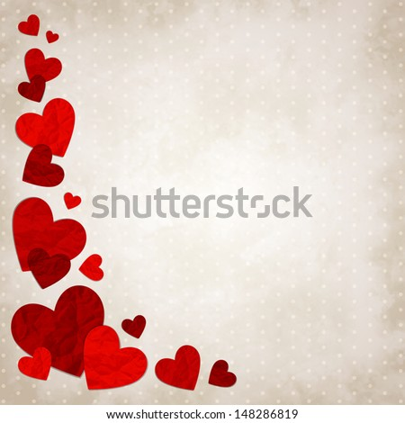 Vector illustration with red love hearts on vintage background - stock vector