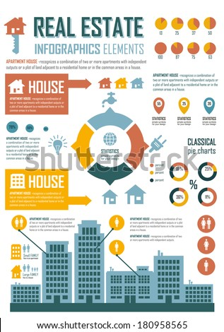Vector Illustration with retro elements in blue, yellow & orange colors. Real Estate and high-rise buildings. Statistics, charts and graphs.Simple flat elements and symbols for your design. - stock vector