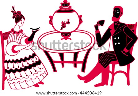Vector illustration with russian tea-party. Isolated lady and gentleman and samovar. Nineteen century people. Retro card. Vintage cafe. - stock vector