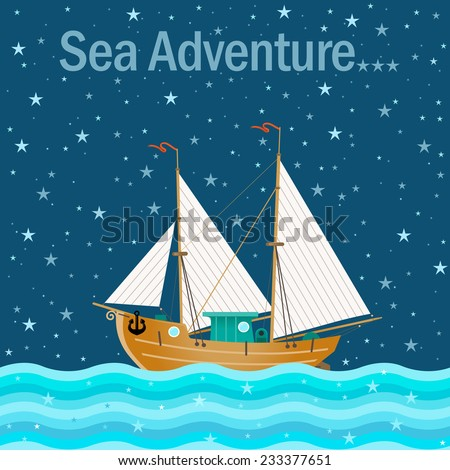 Vector illustration with sailboat. Old schooner sails on the sea