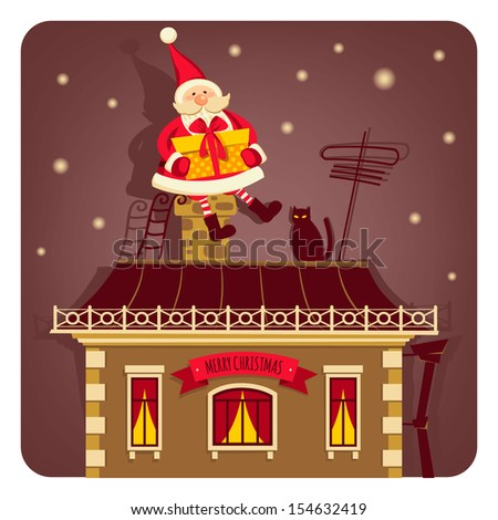 Vector illustration with Santa Claus - stock vector