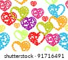 vector illustration with seamless pattern of colorful heart shapes on white background made with blocls for Valentines Day. - stock vector