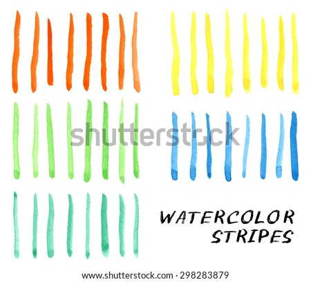 Vector illustration with set of the hand drawn grungy watercolor stripes - stock vector