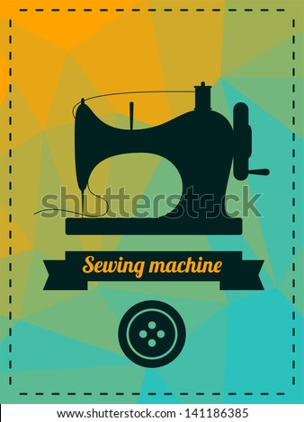 Vector illustration with sewing machine - stock vector