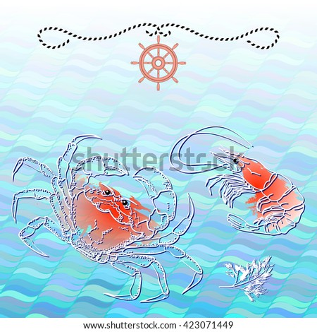 Vector illustration with silhouette crab, shrimp  and dill on aquamarine wave background.