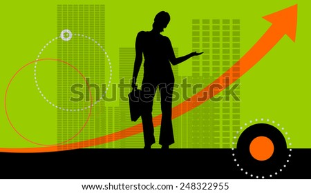 Vector illustration with silhouettes of woman on green background.