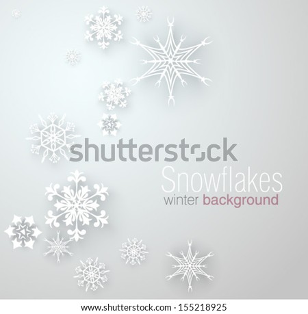 Vector illustration with snowflakes - stock vector