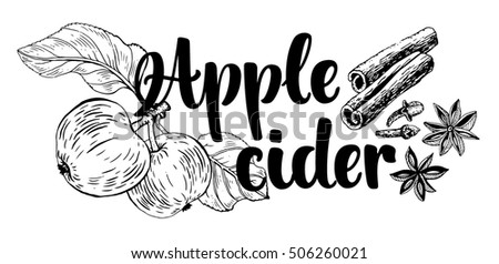 Vector illustration with soft hot drink Apple cider. Hand drawn glass with non alcoholic beverage and doodle ingredients. Recipe card with isolated objects on circle frame and white background.