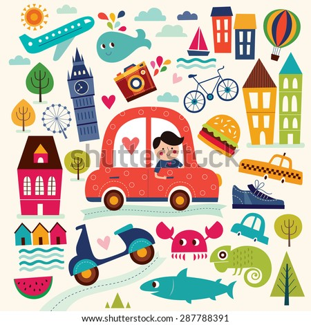 Vector illustration with summer symbols. Summer travel. Cities and landmarks. Pattern with man, car, sailboat, motorbike, trees, houses. Cartoon pattern - stock vector
