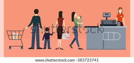 Vector illustration with supermarket counter, cashier, queue of buyers. Vector set with people (customer), shop (grocery)/supermarket interior. Flat vector icon set: people in the supermarket, cashier