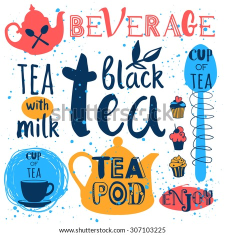 Vector Illustration with tea logo & labels on white background. Funny symbols with cup, spoon & teapot. Traditions of tea time. Decorative elements for your design. - stock vector