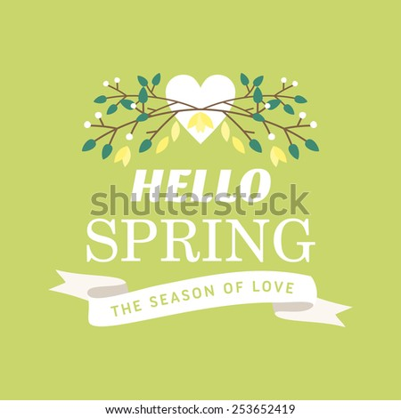 Vector illustration with template text hello spring. Creative design for wedding invitations, greeting cards, spring sales advertisement - stock vector