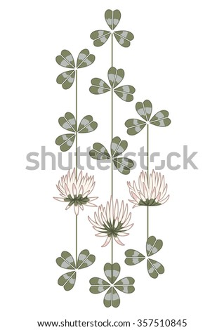 vector illustration with the flowers of clover - stock vector