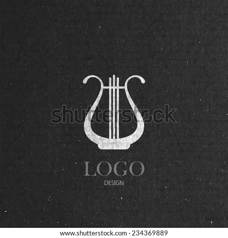 vector illustration with the harp on cardboard texture. music logo design  - stock vector