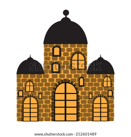 Vector illustration with the image of an old castle. - stock vector