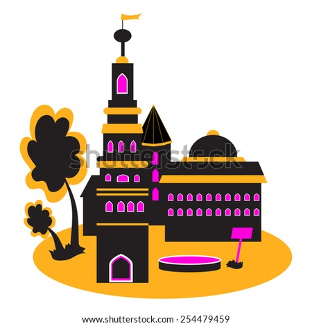 Vector illustration with the image of the silhouette of the castle. - stock vector