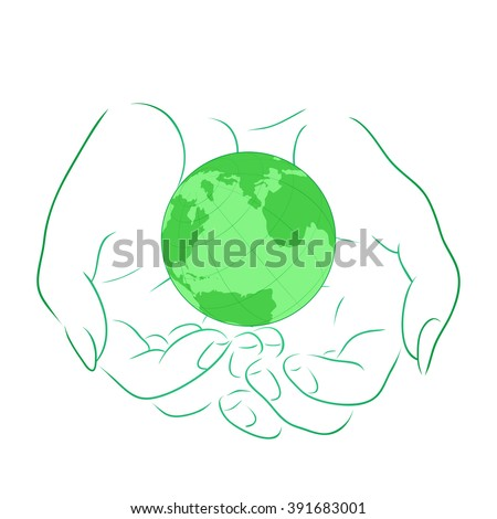 Vector illustration with the outline of female hands with planet Earth. Vector element for your design