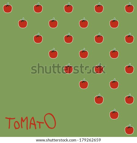 Vector illustration with tomato on green background - stock vector