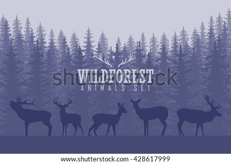 Vector illustration with trees and deer silhouettes - stock vector