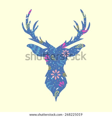 Vector illustration with trendy deer head with floral pattern  - stock vector