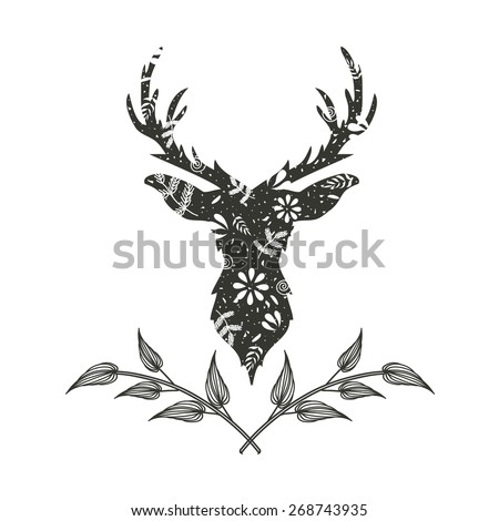 Vector illustration with trendy hand drawn black deer head with floral pattern and doodle twigs - stock vector