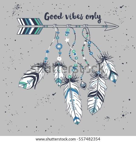 vector illustration tribal frame ethnic arrows stock vector royalty