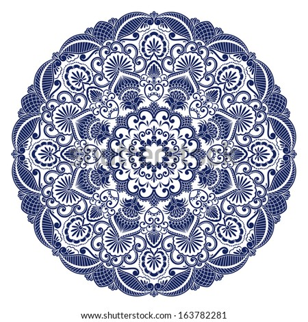 Vector illustration with vintage floral pattern for print, embroidery. - stock vector