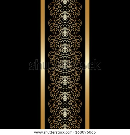 Vector illustration with vintage gold floral ornament. - stock vector