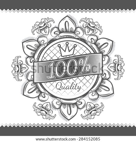 Vector illustration with vintage victorian floral label  - stock vector