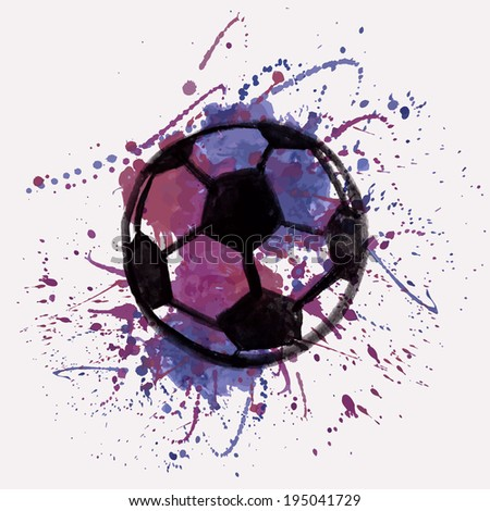 Vector illustration with watercolor soccer ball and splash - stock vector
