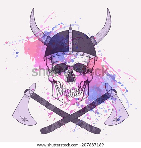 Vector illustration with watercolor splash, axes and human skull wearing viking helmet - stock vector
