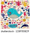 Vector illustration with whales - stock vector