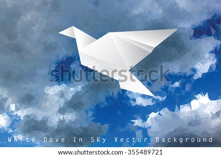 vector illustration with white paper dove in cloudy sky, low poly