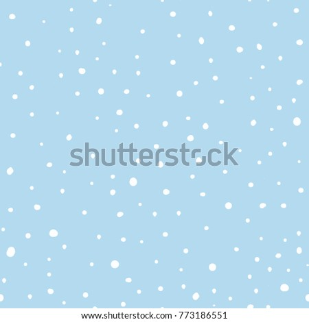 Vector illustration with white seamless hand drawn dot pattern, snowflakes, snow, winter background. Vector illustration.