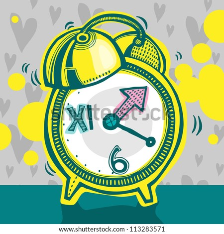 Vector illustration with yellow alarm clock - stock vector