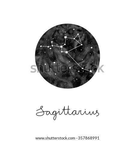 vector illustration with zodiac sign Sagittarius - stock vector