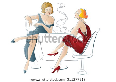 Vector illustration - Women are sitting in cafe - stock vector