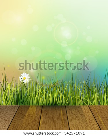 Vector illustration wood floor and Green grass, white Gerbera- Daisy flowers meadow . Water drops dew on green leaves. Blue-green pastel color and Bokeh effect at background. Spring nature background - stock vector