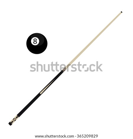 Vector illustration wooden billiard cue and eight black pool ball isolated on white background. Pool stick and 8 ball - stock vector