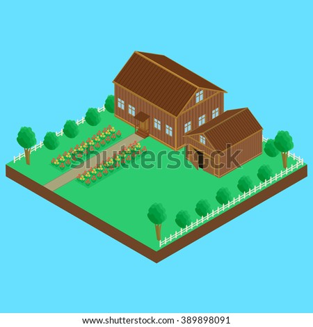 vector illustration. Wooden house and wooden shed, fenced. A bed of flowers, isometric