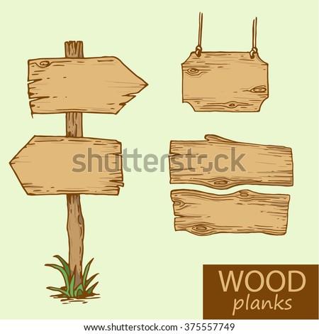 vector illustration wooden signboard cartoon style - stock vector
