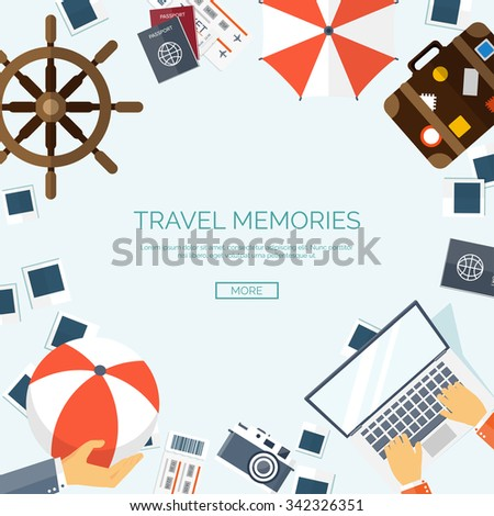 Vector illustration. World travel concept background. Tourism. Holidays, vacation. Sea, ocean, land, air travelling.   - stock vector