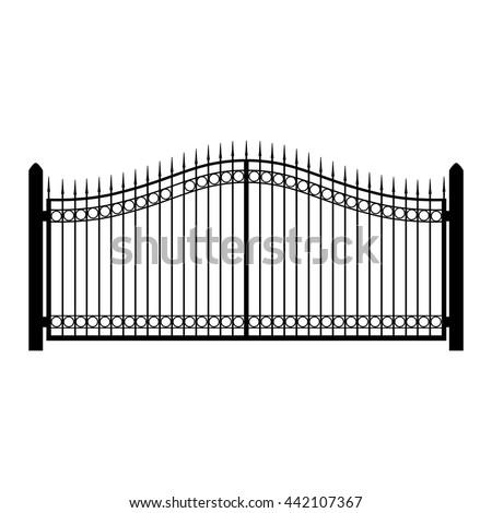 Vector Illustration Wroughtiron Fence Old Metal Stock