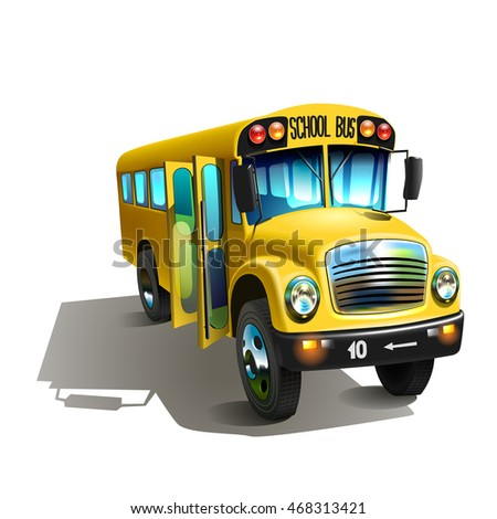 Vector illustration. yellow Cartoon school bus isolated on white background