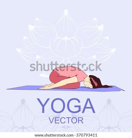 vector illustration yoga pose, beautiful girl, pose child - stock vector