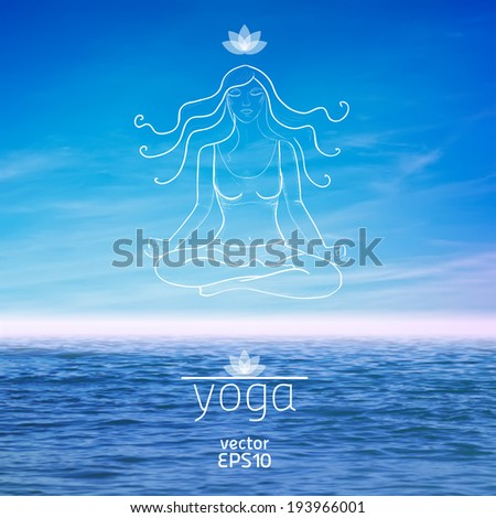 vector illustration. Yoga. Sketch of girl in lotus position on the background of sky and water - stock vector